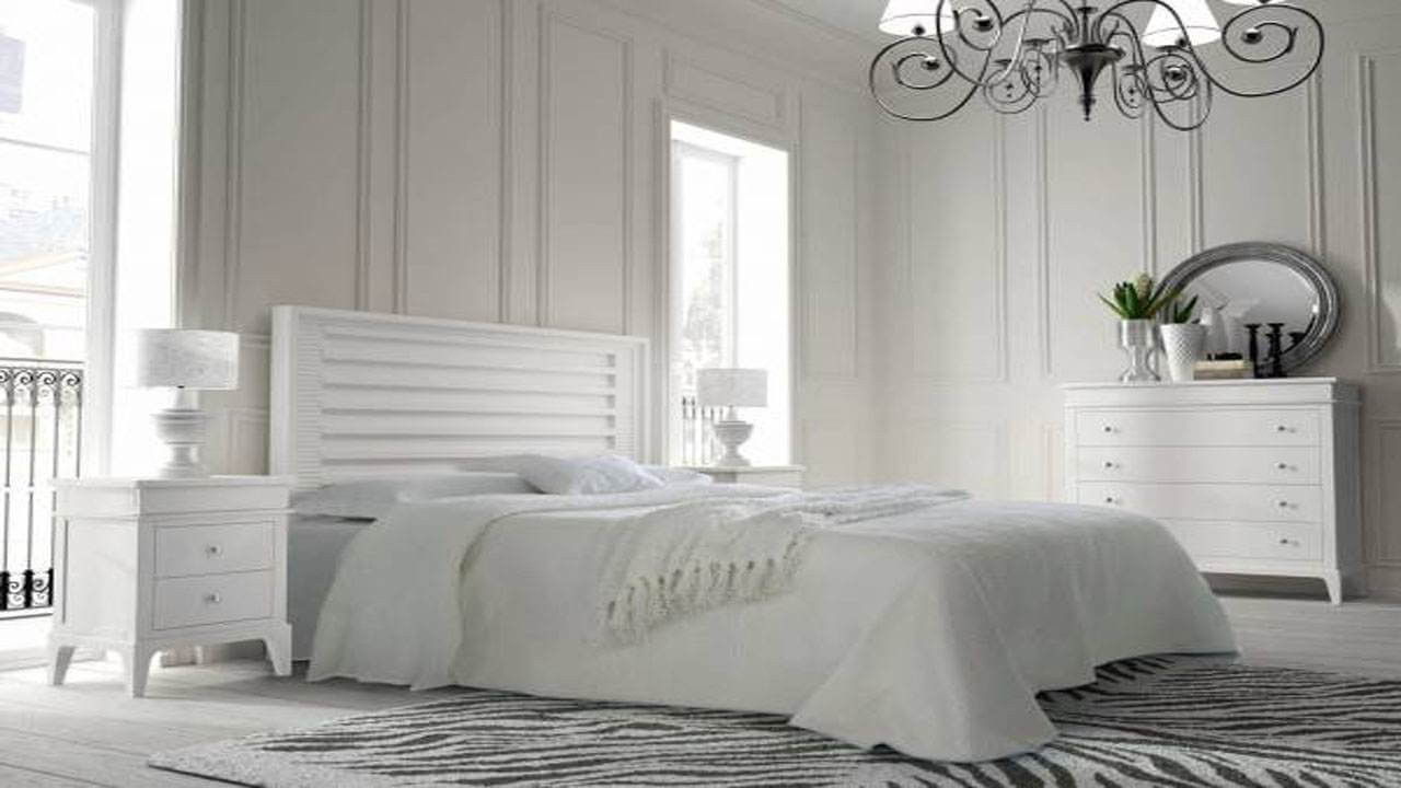 White Bedroom with Chandelier