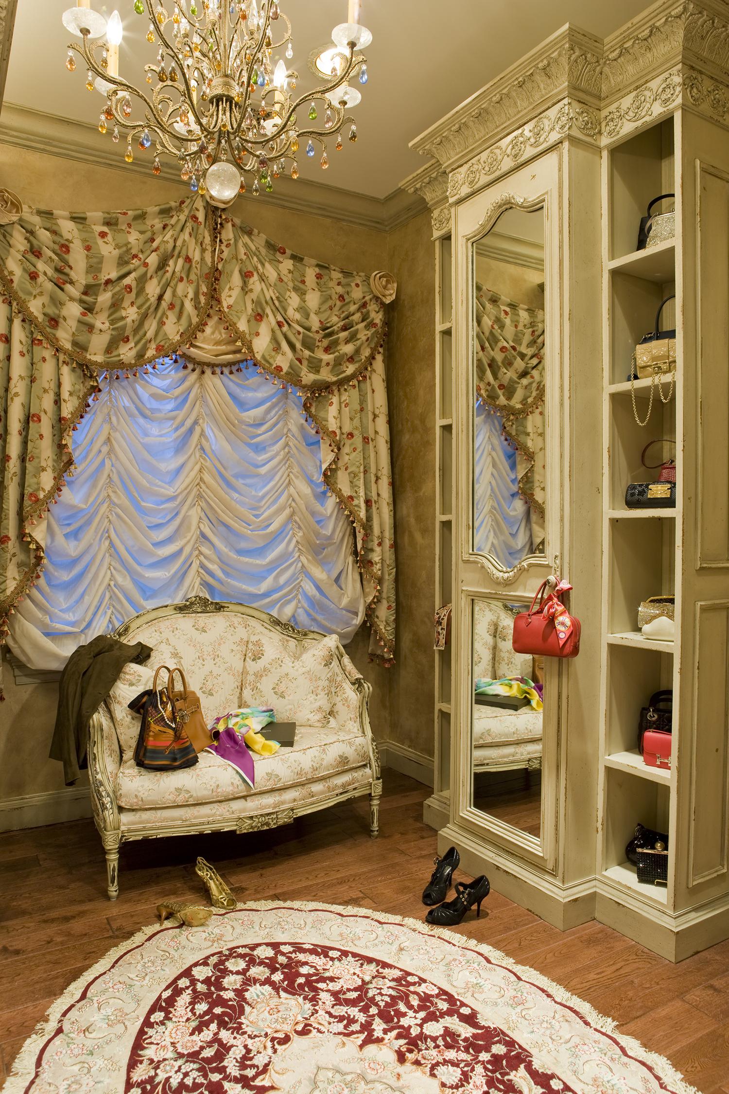 Feminine Closet Design with luxury curtains