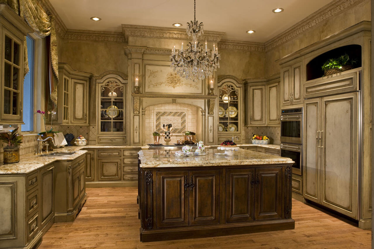 Luxury Kitchen with Antiqued Cabinetry and flooring