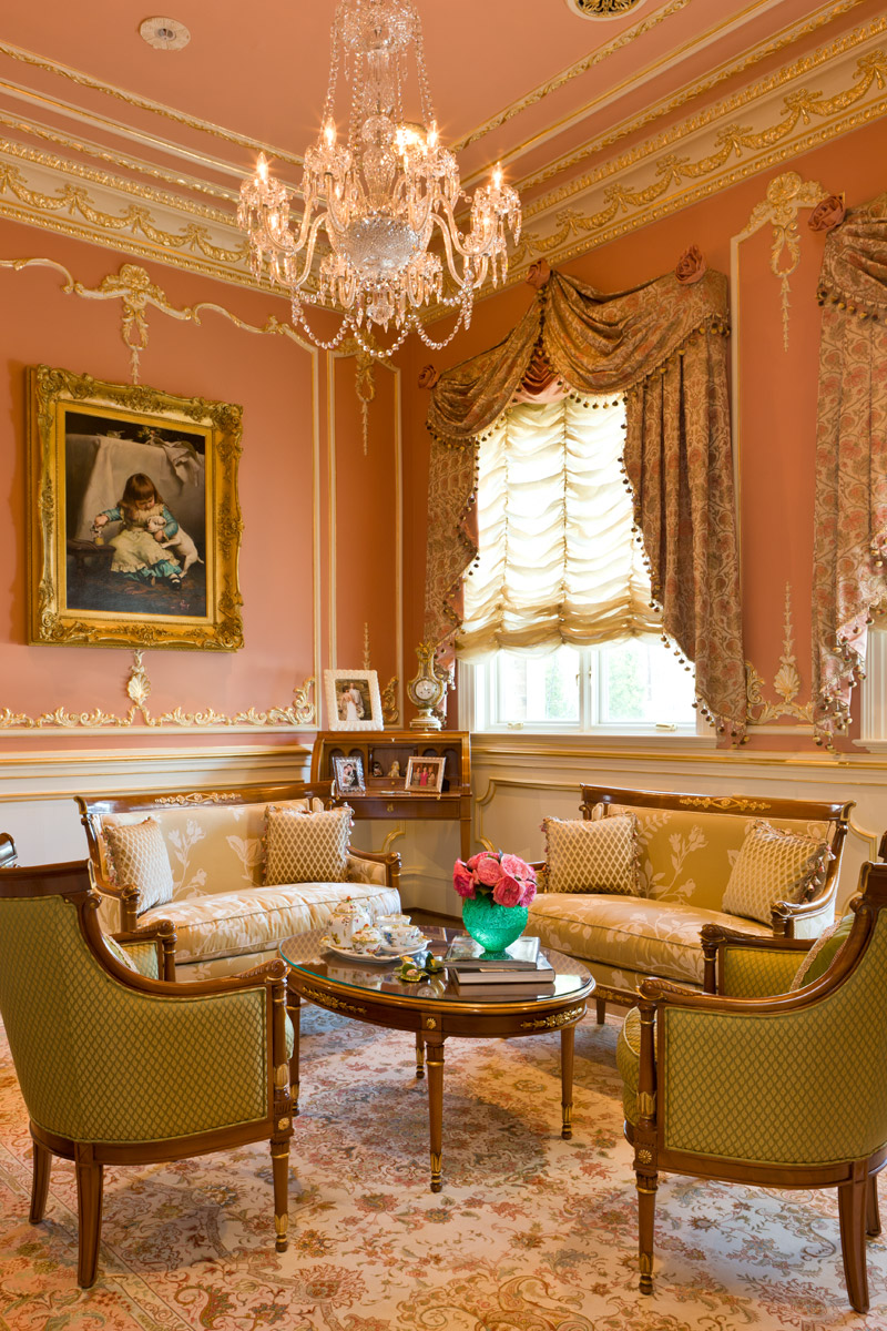 Luxury interior design living room in pink and beige with custom drapery