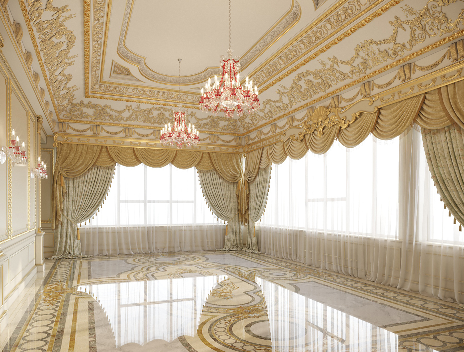 Custom Interior Design of Presidential Master Bedroom Suite with cream, beige and gold