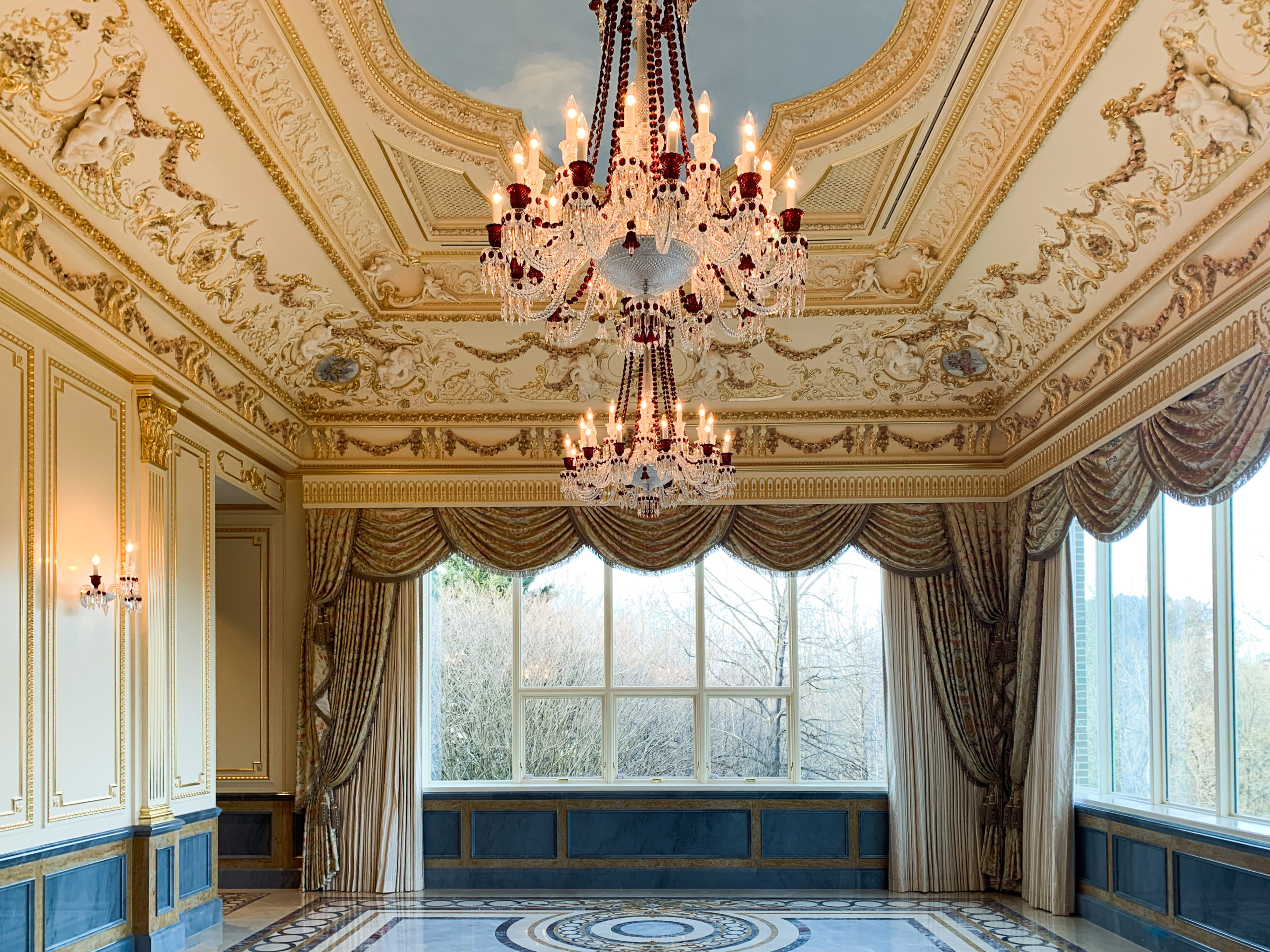 Luxury Interior Design with gold and blue custom plaster molding