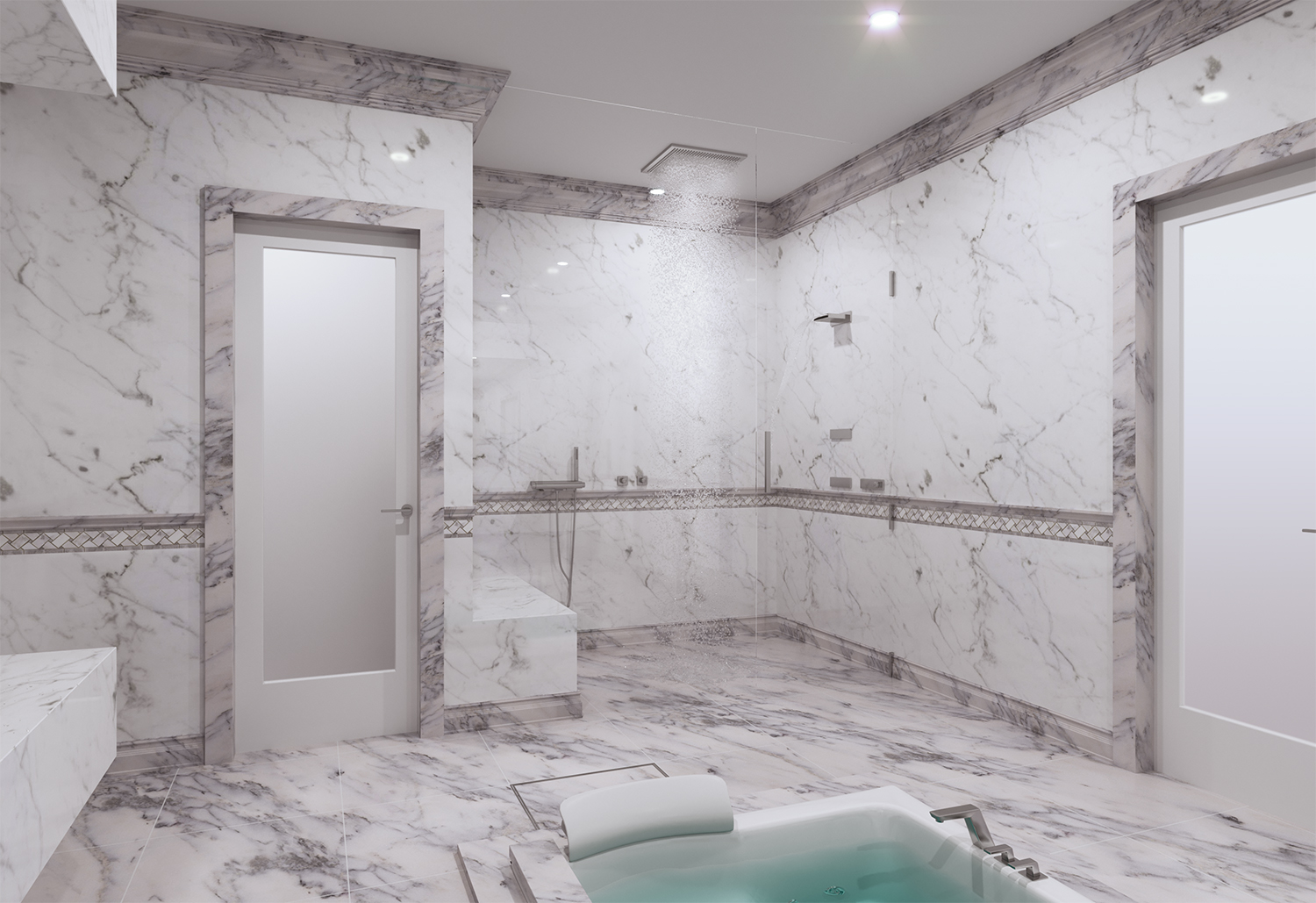Bathroom with Natural Gemstone wall and flooring