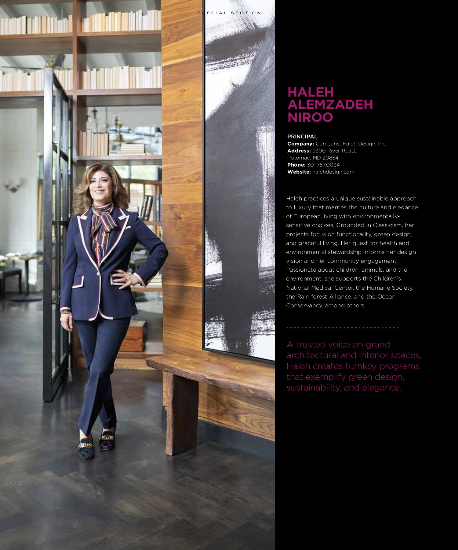 Haleh Niroo, a Luxury Interior Designer female standing up during a DC Women Award Photo Shoot.