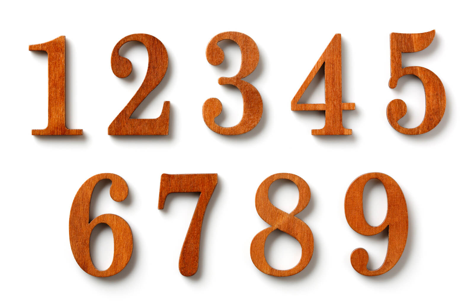 Wooden numbers from 1-9