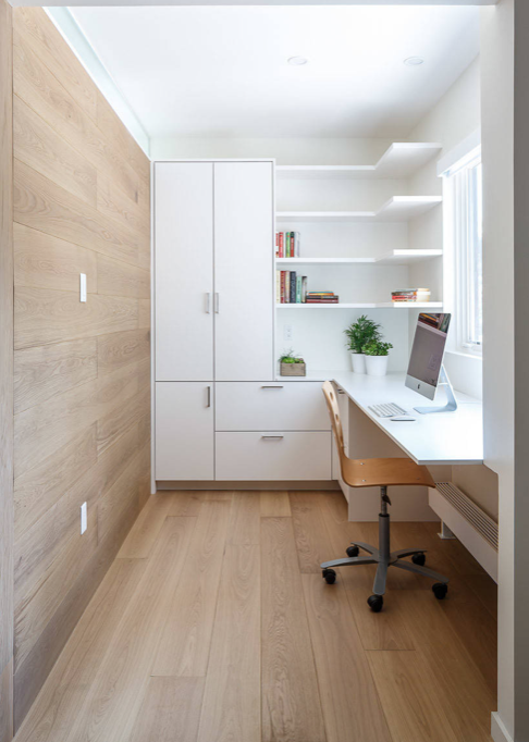 White office with wood panels