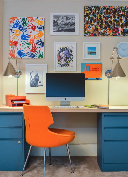 Orange chair with blue desk for Home office