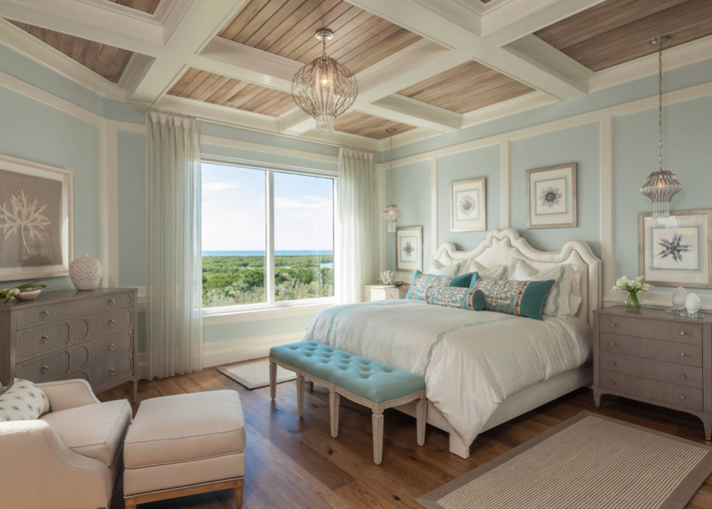 Master Bedroom with turquoise and beige tones