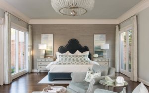 Master Bedroom with navy blue and neutral colors