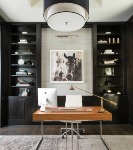 Home office with built-in cabinets