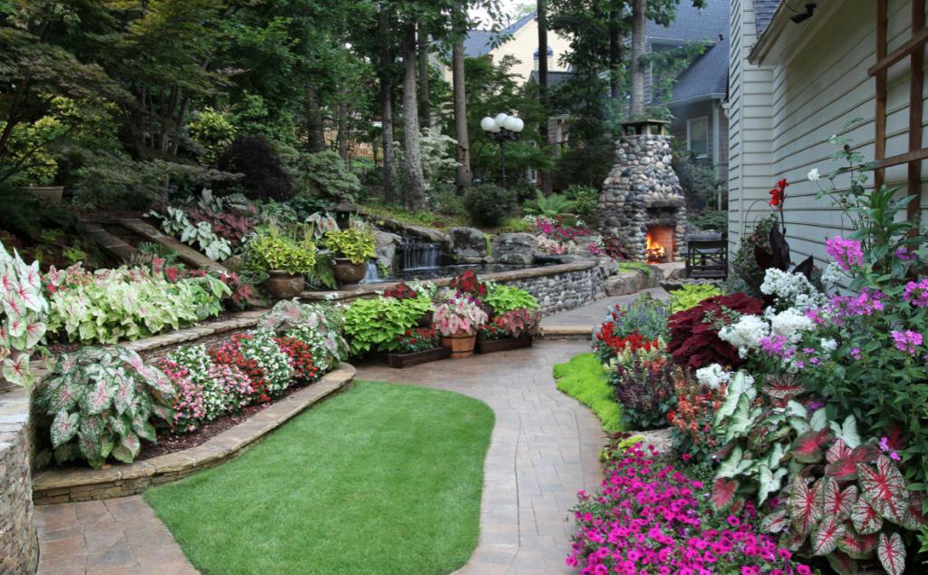 Flower garden in outdoor living space