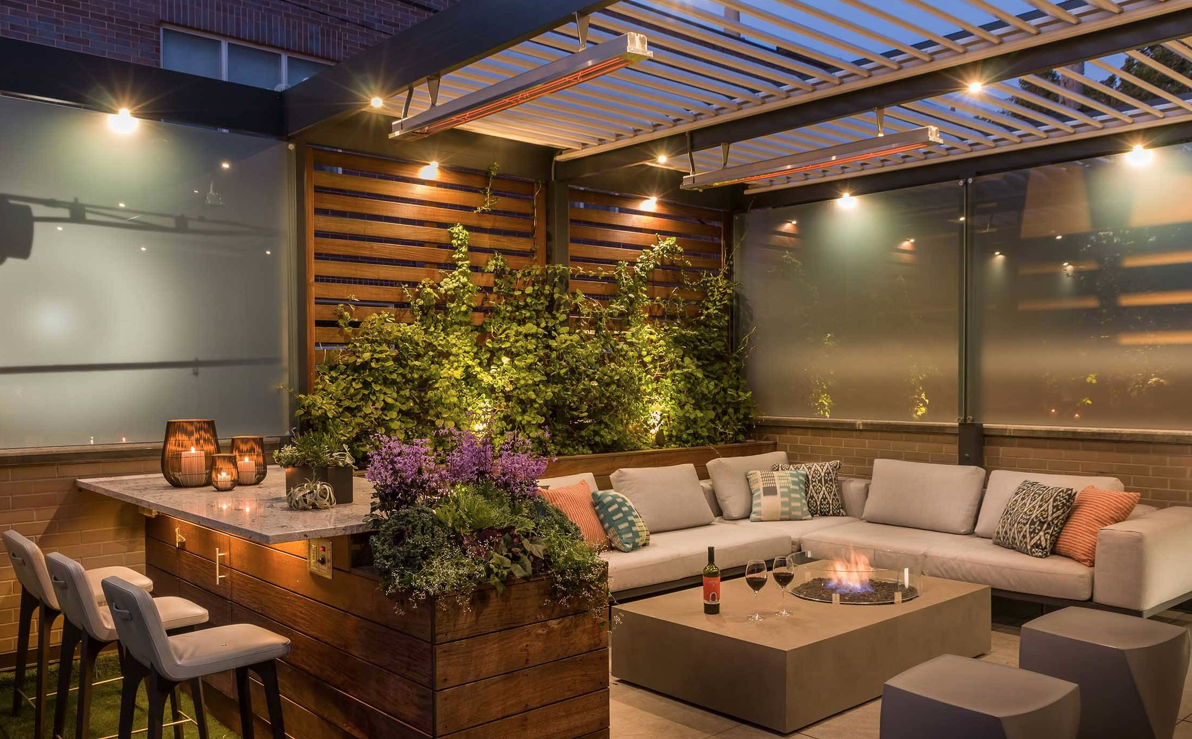 Lighting in an outdoor seating area