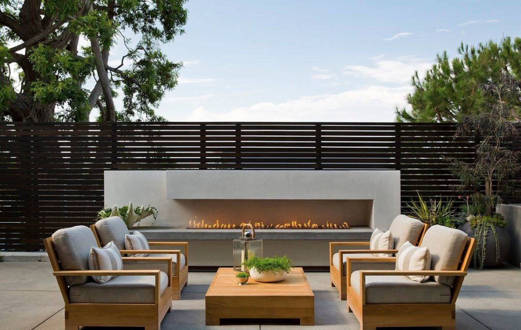 Modern outdoor living space with fire pit