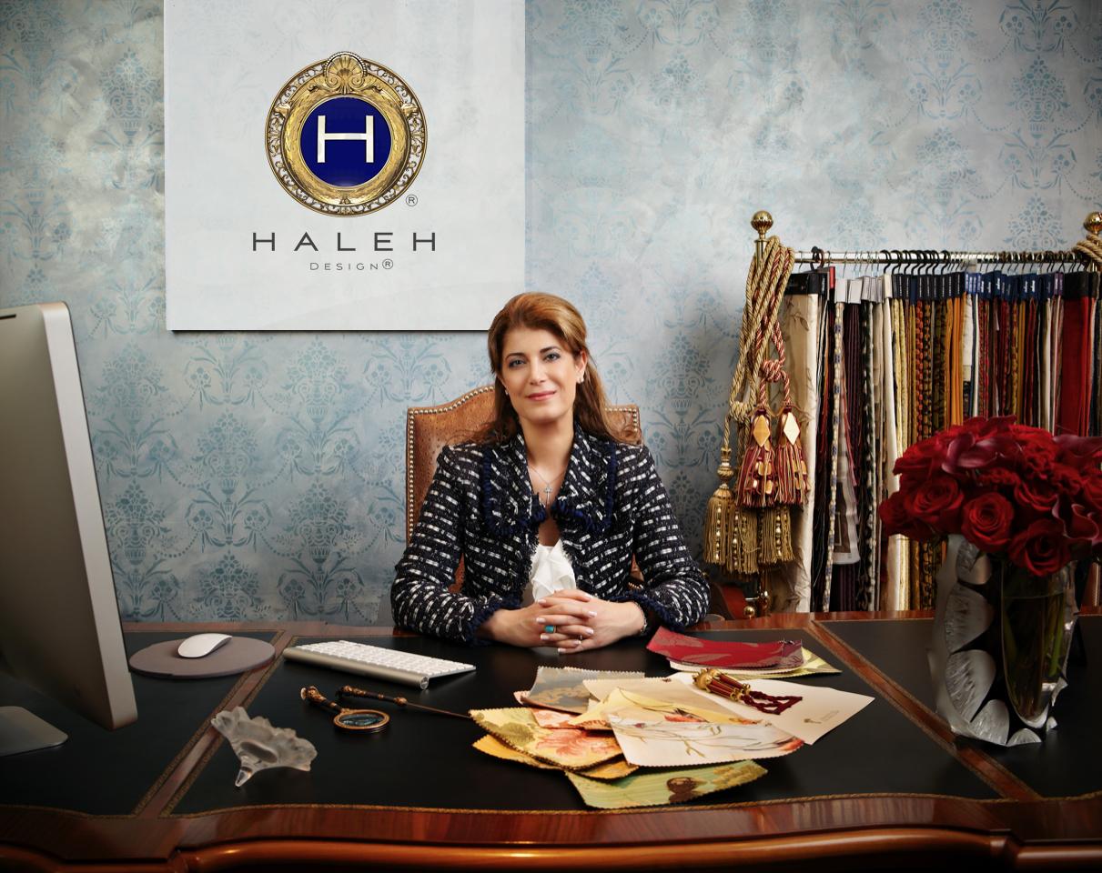 Beautiful Persian Interior Designer sitting at her desk