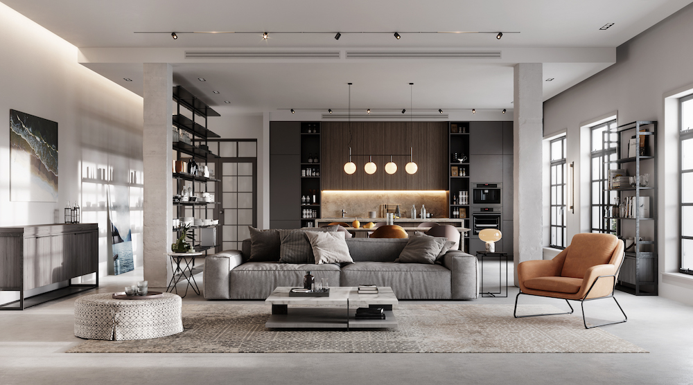 Modern Open Living Room in grey tones with bookshelf and kitchen